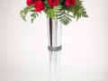 TALL CHROME VASE WITH RHINESTONES