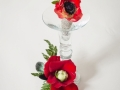 RED ANENOME BOUTINEER WITH BLINGED OUT HOLDER AND HAIRPIECE