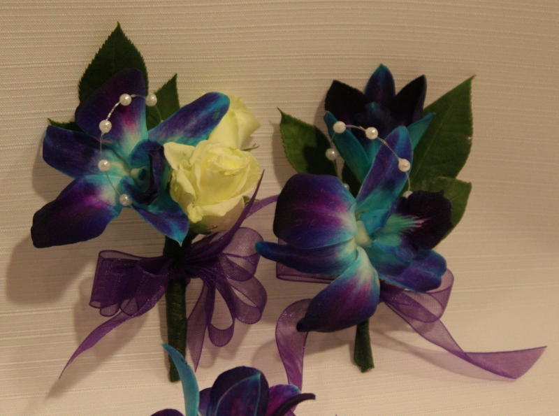 BLUE ORCHID 8.00 EACH, WITH ROSE 11.00