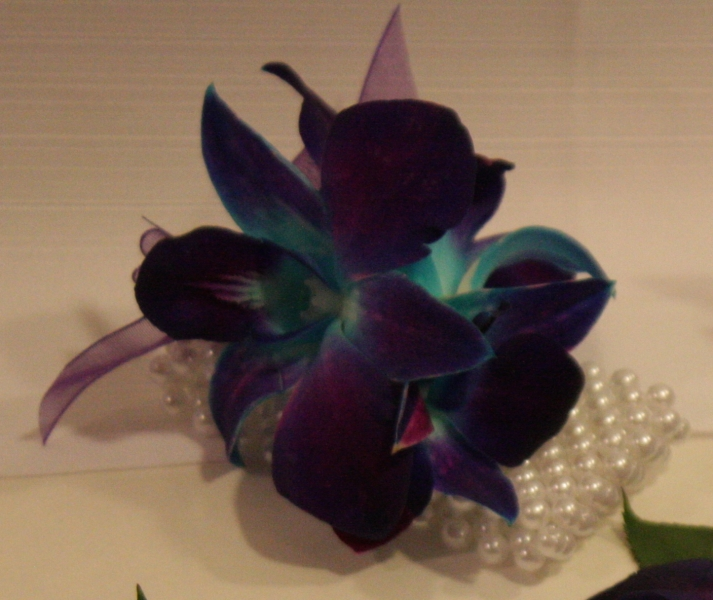 BLUE ORCHID PEARL WRIST CORSAGE