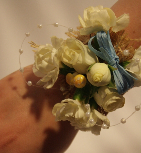 VIEW 3 BURLAP AND PEARLS WRIST CORSAGE
