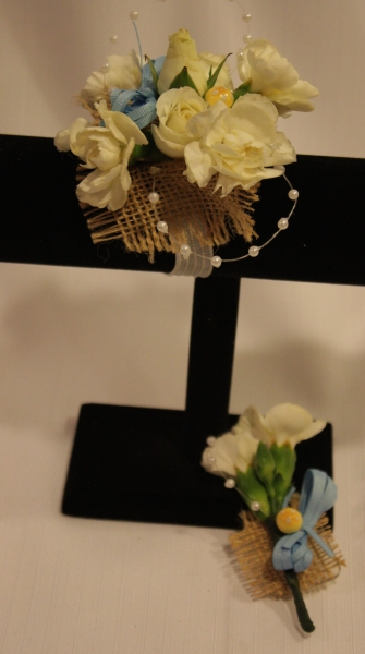 BURLAP AND PEARLS CORSAGE 14.00, MATCHING BOUTONNIERE 9.00