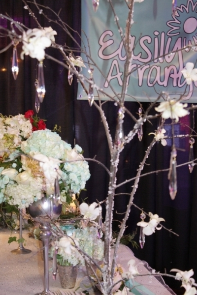 ICED TREE WITH CRYSTALS AND ORCHIDS